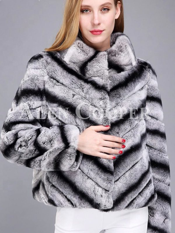 Women's colorful short real fur coat winter outerwear with high neck collar in gray
