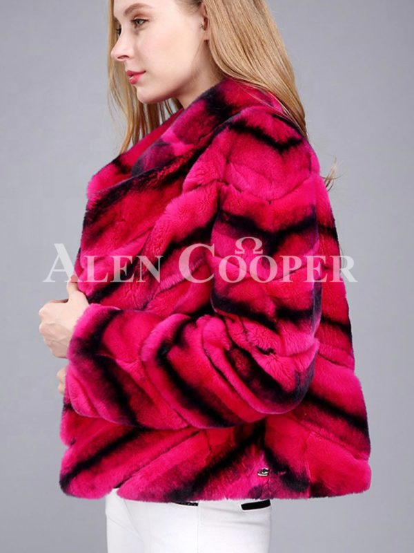 Women's colorful short real fur coat winter outerwear with high neck collar red side