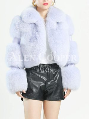 Women's extra warm cropped real fox fur coat with leather joint sleeves