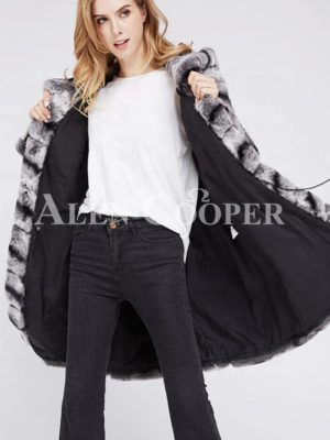 Women's long and hooded bi-color real fur winter outerwear