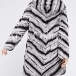 Women's long and hooded bi-color real fur winter outerwear back side view