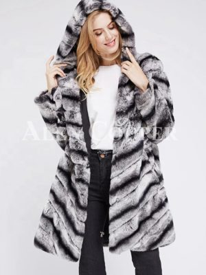 Women's long and hooded bi-color real fur winter outerwear for women