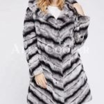 Women's long and hooded bi-color real fur winter outerwear for womens