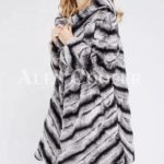 Women's long and hooded bi-color real fur winter outerwear side view