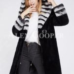 Women's long black real rabbit fur winter coat with stylish bi-color wide collar