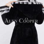 Women's long black real rabbit fur winter coat with stylish bi-color wide collar back side v