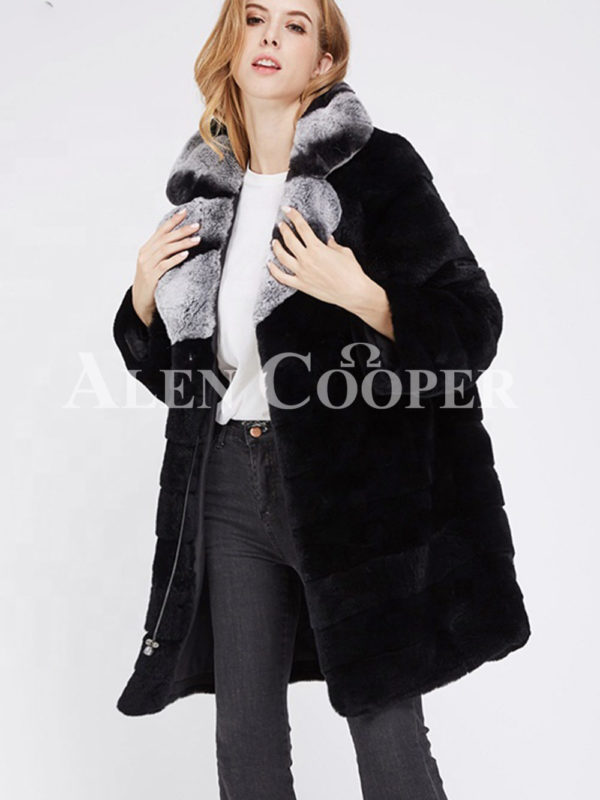 Women's long real fur black warm winter fur coat with lapel style bi-color collar