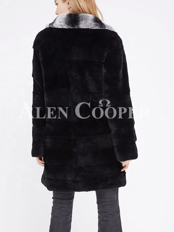 Women's long real fur black warm winter fur coat with lapel style bi-color collar back