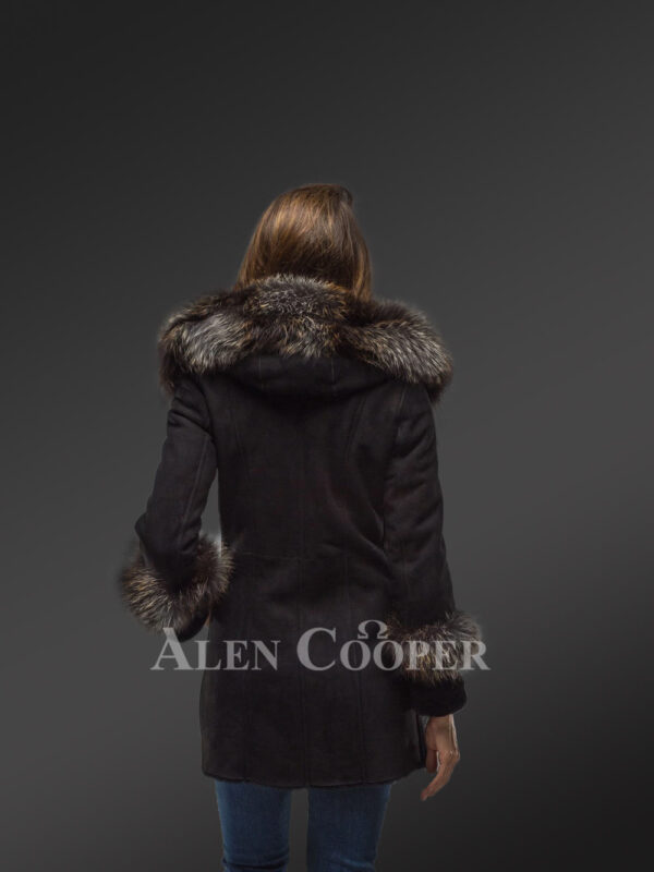 Women's mid length 100% real sheepskin warm winter coat with long shawl collar new back side view