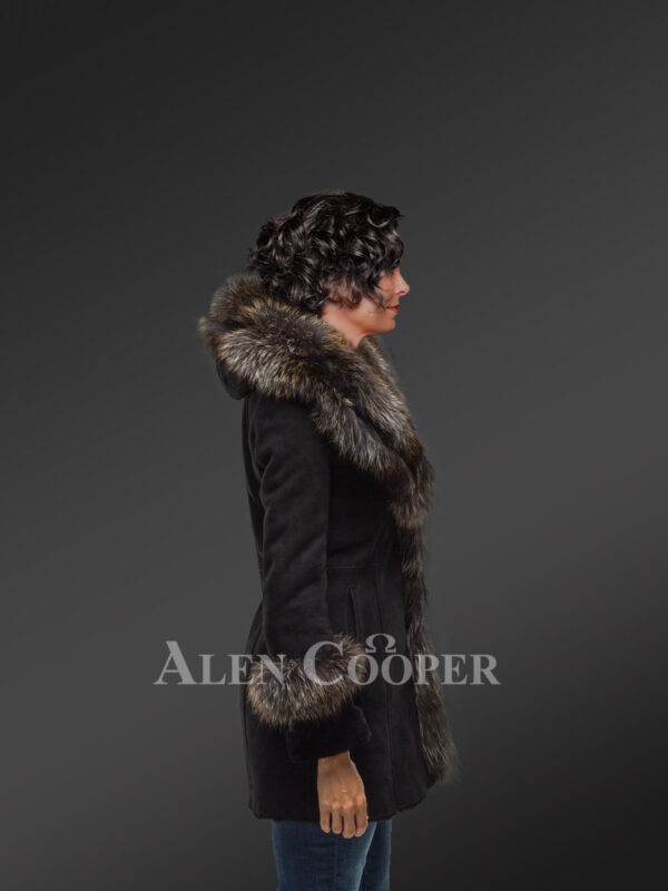 Women's mid length 100% real sheepskin warm winter coat with long shawl collar new sideview