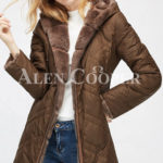 Women's mid-length bi-color real fur coat with high neck