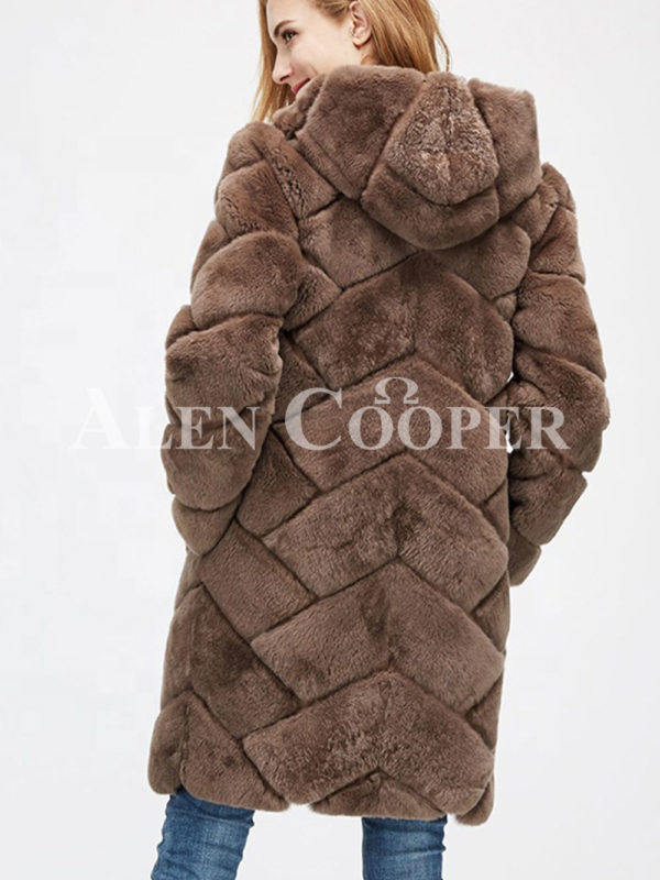 Women's mid-length bi-color real fur coat with high neck back side view