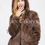 Women's mid-length bi-color real fur coat with high neck close view