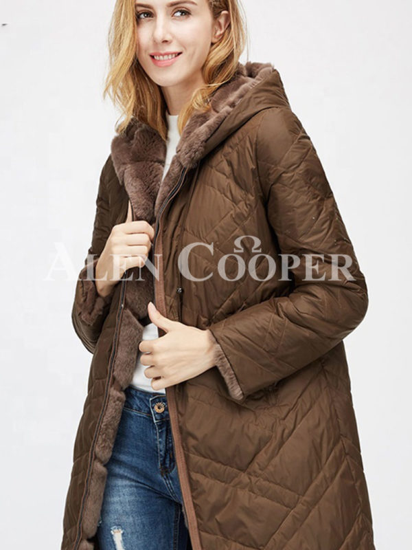 Women's mid-length bi-color real fur coat with high neck side view