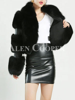 Women's stylish and luxury real fox fur cropped winter coat