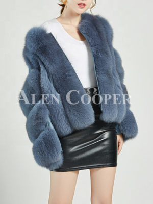 Women's stylish real fur coat with leather joint sleeves in blue