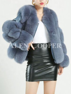 Women's stylish real fur warm winter coat with twisted sleeves blue