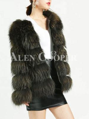 Women's stylish real fur warm winter outerwear side view