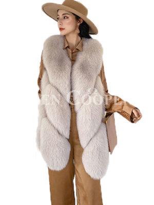 Women's super stylish casual sleeveless real fur waistcoat