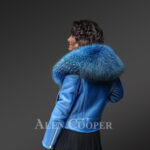 Women's super stylish super soft super warm real leather jacket with raccoon fur collar in Teal New