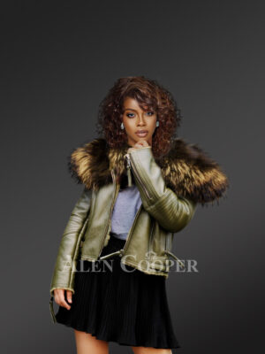Women's super stylish super soft super warm real leather jacket with raccoon fur collar in green New