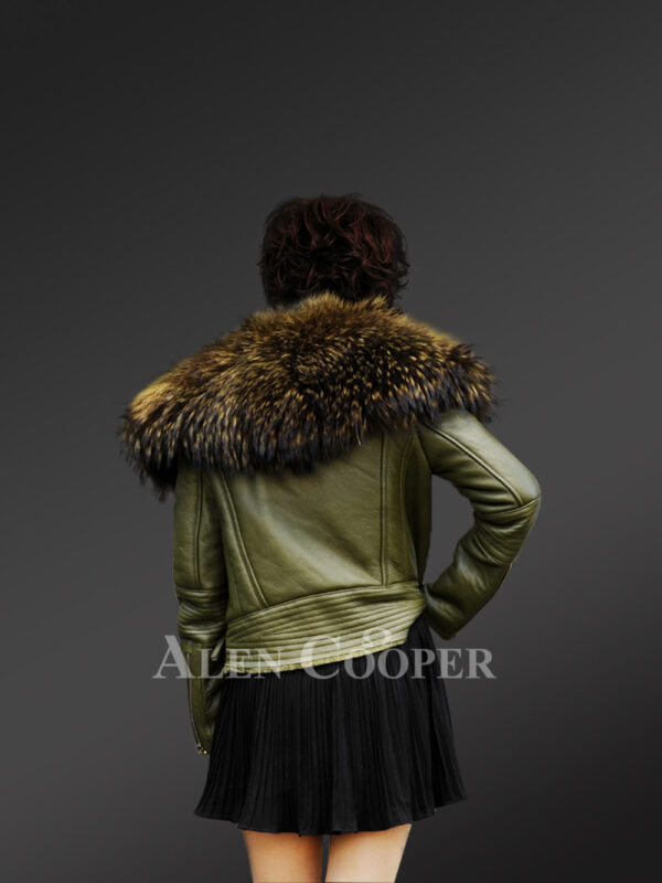 Women's super stylish super soft super warm real leather jacket with raccoon fur collar in green back side view