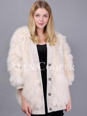Women's super stylish white real fox fur winter coat with woolen design