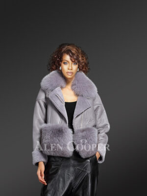 Women's unique super warm real sheepskin-fur winter outerwear in grey new