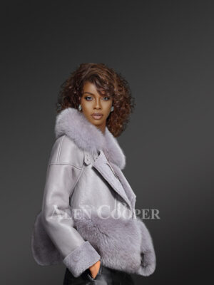 Women's unique super warm real sheepskin-fur winter outerwear in grey new side view
