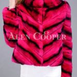 Women colorful short real fur coat winter outerwear with high neck collar