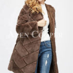 Women mid-length bi-color real fur coat with high neck