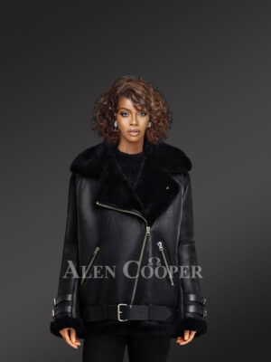Women s real warm super stylish double face shearling mid length coat with belts black new