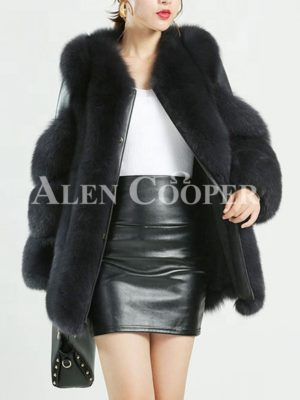 Women stylish mid-length real fox fur coat with leather joint sleeves