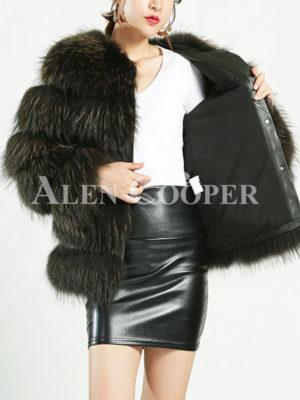 Women stylish real fur warm winter outerwear