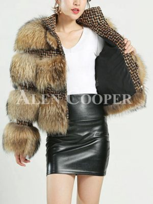 Womens Personalized High Quality Real Raccoon Fur Coat