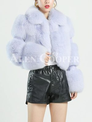 Womens extra warm cropped real fox fur coat with leather joint sleeves