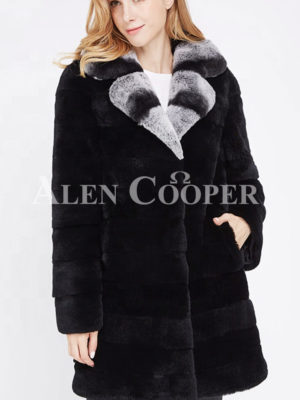 Womens long real fur black warm winter fur coat with lapel style bi-color collar
