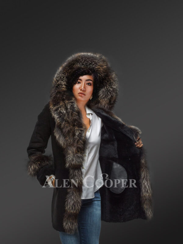 Womens mid length 100% real sheepskin warm winter coat with long shawl collar new