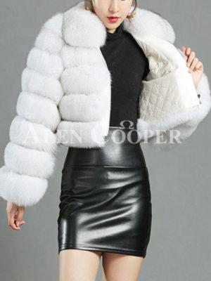 Womens short real fur warm winter luxury short coat