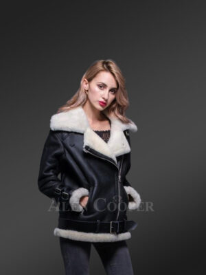 Womens stylish lapel collar double face shearling warm winter coat new view
