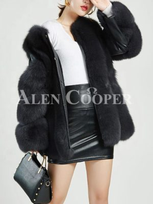 Womens stylish mid-length real fox fur coat with leather joint sleeves