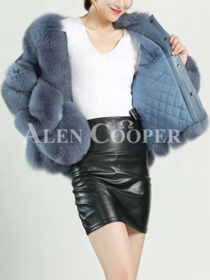 Womens stylish real fur warm winter coat with twisted sleeves in blue