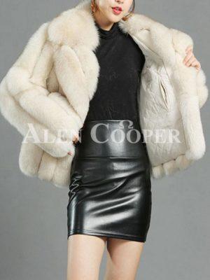 Women's super stylish and luxury real fox fur white coat