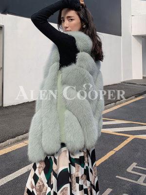 Womens super stylish casual sleeveless real fur waistcoat