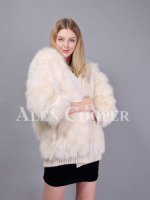 Womens super stylish white real fox fur winter coat with woolen design