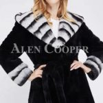 long black real rabbit fur winter coat with stylish bi-color wide collar for Women's