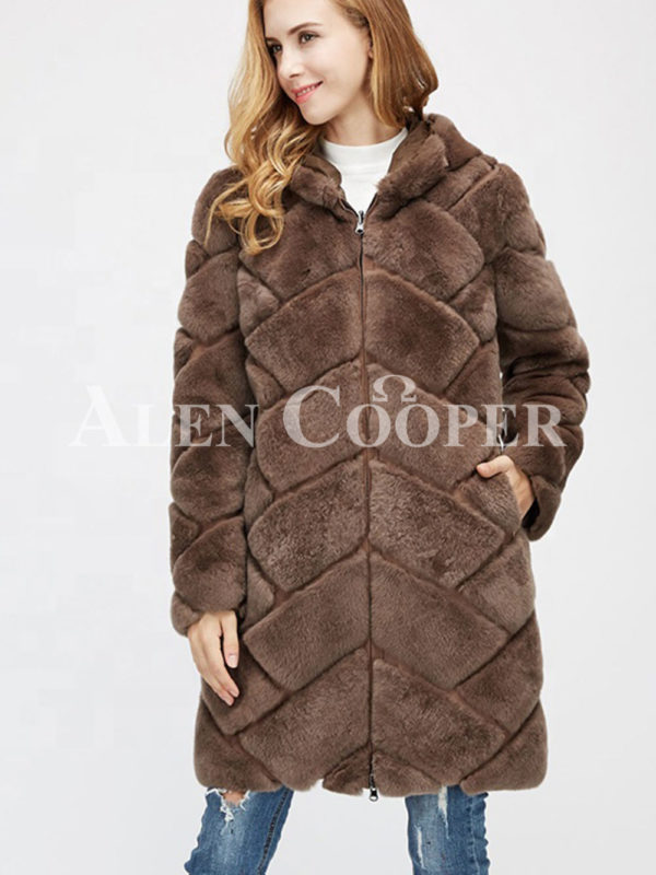 mid-length bi-color real fur coat with high neck for Women's