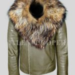 olive real leather winter biker jacket with real raccoon fur collar for men
