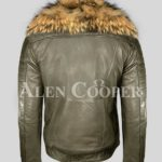olive real leather winter biker jacket with real raccoon fur collar for men back side view