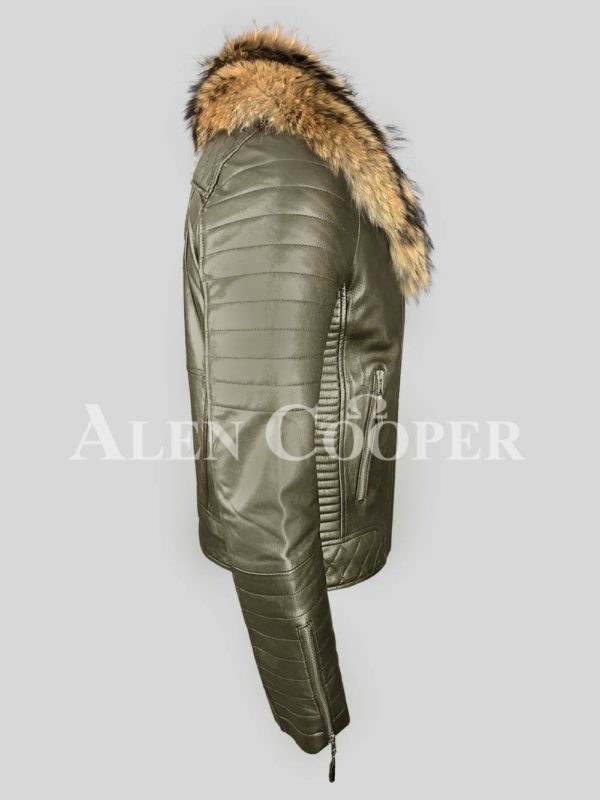 olive real leather winter biker jacket with real raccoon fur collar for men side view